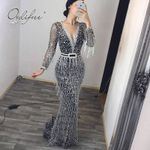 Long Sleeve Sequin Tassel  Sexy Party Dress