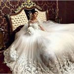 Ball Gown Long Sleeves Tulle Lace Wedding Dresses