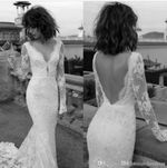 Backless Sexy long Sleeves Gown Lace Appliques Wedding Dress
