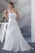 flowers  bridal gown one shoulder  wedding dress