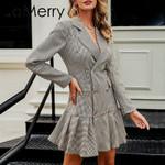 Vintage plaid  Elegant double breasted blazer dress