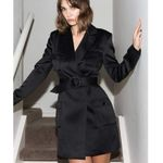 Long Sleeve Notched Collar Lace Up Blazer Dress