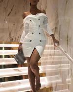 Elegant Long Sleeve Double Breasted Blazer Dress