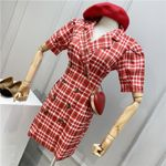 Vintage Double-breasted Puff Sleeve Blazer Dresses