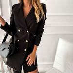 Notched Collar Button A-Line  Long Sleeve Blazer Dress