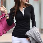 Long Sleeve Baggy Tunic Button Slim Fit T Shirt