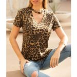 Fashion V-neck short-sleeved Hollow Out leopard T-shirt