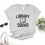 Cotton Casual Funny Library Squad Print T-shirts