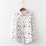 Heart Print Long Sleeve Lapel  Fashion Blouse