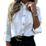 Pocket   Casual Button Blouse