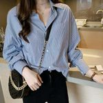 Vintage Long Sleeve  Striped  Fashion  Blouses