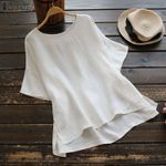 Casual Shirt Elegant Short Flare Sleeve Cotton Linen Blouse