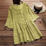 Elegant Embroidery Hollow V Neck Button Linen Blouse