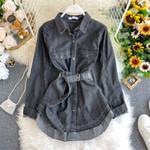 Vintage Belt Fashion Denim Jacket