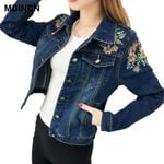 Embroidered  Slim Outwear Bomber Denim Jacket
