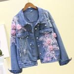 Long Sleeve Fashion Loose Fit  Flower Pearls Denim Jackets
