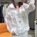 Lapel Long Sleeve Pockets Tassel Denim Jacket