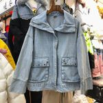 Long-Sleeve  Loose-Fit Beaded Tassel Denim Jacket