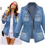pocket Outwear  Casual  Chain Denim  Jacket