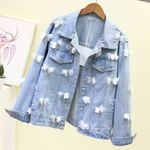 Chic Flower Beading Diamonds Casual Loose Denim Jackets