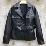 Single Breasted Belted Genuine Leather Jacket