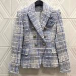 Long Sleeve V-neck Plaid Single Button Jacket