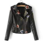 Studded Zipper Slim Leather Casual Long Sleeve Jacket