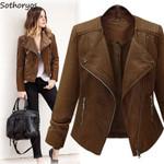 Turn-down Collar  Slim Elegant PU Leather Jackets