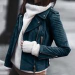 Vintage Leather Zipper Short Retro Vintage  Zip Belted Jacket