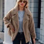 Casual faux fur long-sleeved Side zipper jacket