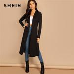 Split Side Plain Long Sleeve Cardigan  Street Coats