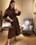 Casual Slim Patchwork Hollow Out Long Trench Coat