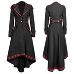 Long Sleeve Train Vintage Vintage Gothic Long  Coat
