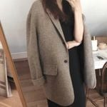 fashion double faced blazer loose wool blends coat