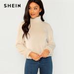 Elegant High Neck Faux Fur Belted Pullover Sweatshirt
