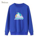 Pullover Fleece Warm Loose Rainbow Horse Sweatshirt