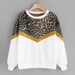 Leopard Print Long Sleeve O Neck Sweatshirt