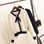 bow tie short V-neck sweater Knitted  cardigan sweater