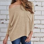 Loose  Slash Neck Full Sleeve Knitting Sweaters