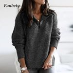 Loose Zipper Pullovers Casual Turn-Down Collar Knitted Sweater
