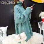 Turtleneck Lantern Long Sleeve Pullover  Knitted Sweater