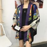Japanese Devil Wave Print  Cardigan    Kimonos