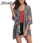 Loose Thin  Cardigan Fashion Printed Chiffon Kimono