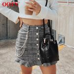 High Waist Ruffles Button Casual Vintage  Plaid Mini Skirt