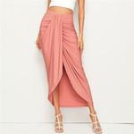 Vacation Korean Style  Draped High Waist Skirt