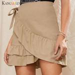 Fashion  Ruffles Bandage Lace Up Sexy Mini Skirt