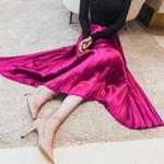 Vintage High Waist Pleat Pleated Midi Skirt