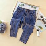 Fashion Elastic Stretch Washed  High Waist Jeans