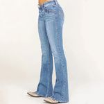 Stretch Button Flare Western style  Mid Waist Jeans