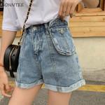 Retro Pockets Zipper Loose  Breathable Denim Short